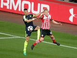 Arsenal's Kieran Gibbs and Southampton's James Ward-Prowse during the Premier League match on May 10, 2017