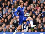 Marcos Alonso in action during the Premier League game between Chelsea and Middlesbrough on May 8, 2017