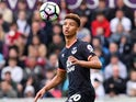 Mason Holgate in action during the Premier League game between Swansea City and Everton on May 6, 2017