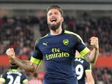 Arsenal's Olivier Giroud celebrates scoring against Southampton on May 10, 2017