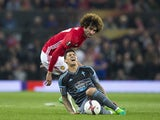 Pablo Hernandez reacts to a challenge by Marouane Fellaini during the Europa League match between Manchester United and Celta Vigo on May 11, 2017