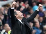 Paul Clement celebrates victory after the Premier League game between Swansea City and Everton on May 6, 2017