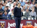 Slaven Bilic watches on during the Premier League game between West Ham United and Liverpool on May 14, 2017