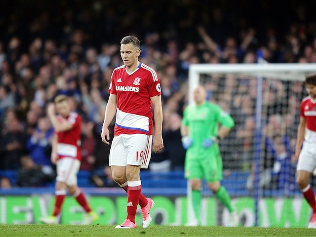 Stewart Downing looking downbeat during the Premier League game between Chelsea and Middlesbrough on May 8, 2017