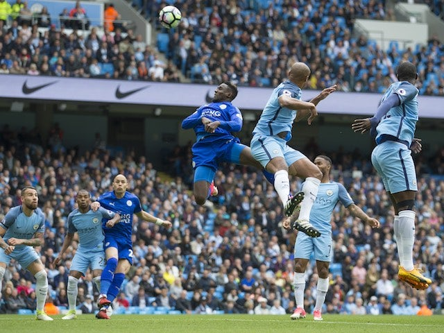 Wilfred Ndidi misses a header during the Premier League game between Manchester City and Leicester City on May 13, 2017