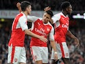 Alexis Sanchez celebrates his opener with Mesut Ozil during the Premier League game between Arsenal and Sunderland on May 16, 2017