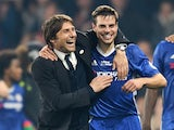 Chelsea's Antonio Conte and Cesar Azpilicueta celebrate after the 4-3 victory over Watford on May 15, 2017