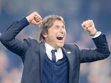 Antonio Conte celebrates Chelsea's Premier League win over Watford on May 15, 2017