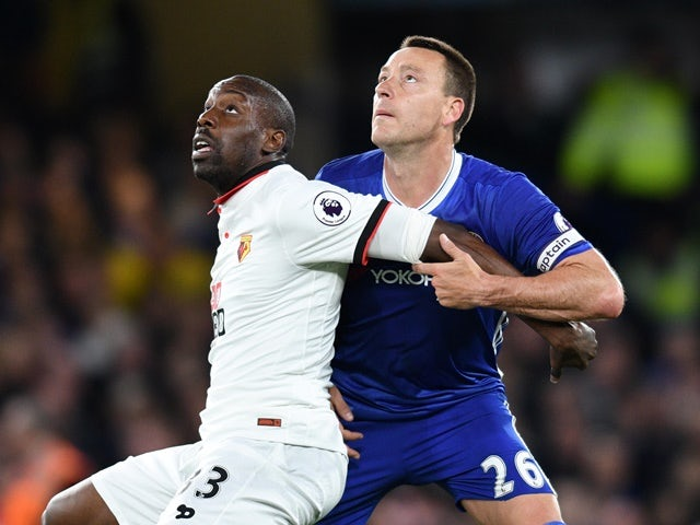 John Terry and Stefano Okaka during the Premier League match between Chelsea and Watford on May 15, 2017