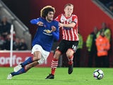 Manchester United's Marouane Fellaini and Southampton's James Ward-Prowse during the Premier League match on May 17, 2017