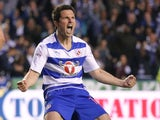 Yann Kermorgant celebrates scoring during the Championship playoff semi-final game between Reading and Fulham on May 16, 2017