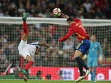 Alvaro Morata of Spain and Nathaniel Clyne of England during an international friendly on November 15, 2016