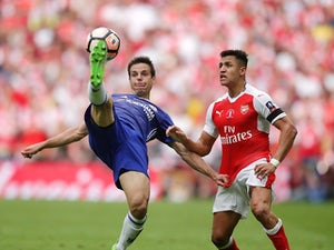 Chelsea's Cesar Azpilicueta clears from Arsenal's Alexis Sanchez during the FA Cup final on May 27, 2017