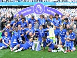 The Chelsea squad celebrate with the trophy during the Premier League game between Chelsea and Sunderland on May 21, 2017