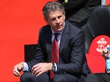 Claude Puel watches on during the Premier League game between Southampton and Stoke City on May 21, 2017