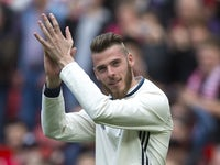 David De Gea applauds after the Premier League game between Manchester United and Crystal Palace on May 21, 2017