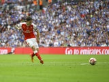 Arsenal's Hector Bellerin shoots during the FA Cup final against Chelsea on May 27, 2017