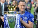 John Terry poses with the trophy during the Premier League game between Chelsea and Sunderland on May 21, 2017