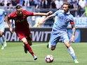 Roma's Kostas Manolas and Lazio's Lucas Biglia on April 30, 2017
