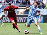 Roma's Kostas Manolas and Lazio's Lucas Biglia on April 30, 2017