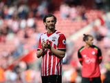 Manolo Gabbiadini applauds during the Premier League game between Southampton and Stoke City on May 21, 2017