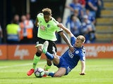 Marc Albrighton fouls Jordon Ibe during the Premier League game between Leicester City and Bournemouth on May 21, 2017