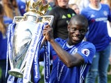 N'Golo Kante poses with the trophy during the Premier League game between Chelsea and Sunderland on May 21, 2017