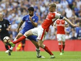 Arsenal's Per Mertesacker and Chelsea's Diego Costa during the FA Cup final on May 27, 2017