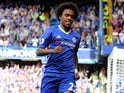 Willian celebrates scoring the Blues' first during the Premier League game between Chelsea and Sunderland on May 21, 2017