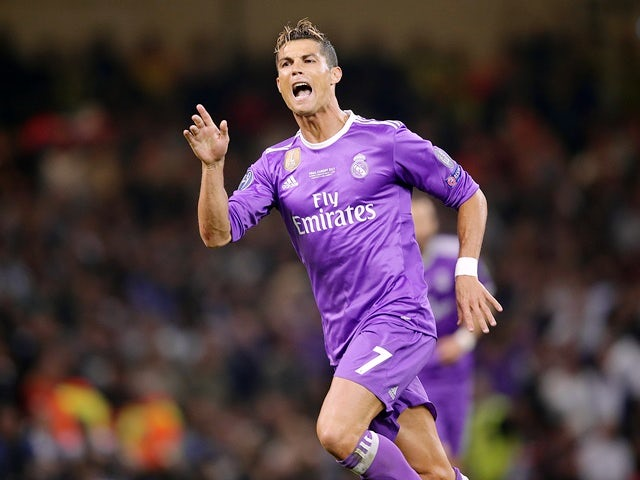 Real Madrid's Cristiano Ronaldo celebrates scoring the opening goal against Juventus in the Champions League final on June 3, 2017