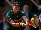 Kei Nishikori in action against Andy Murray at the French Open on June 7, 2017