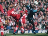 John Barnes comes up against Ian Wright in August 1994