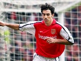 Robert Pires celebrates scoring for Arsenal on March 8, 2001