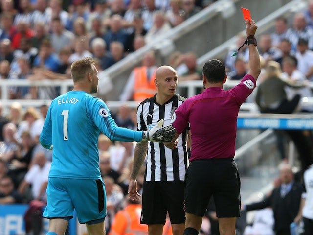 Jonjo Shelvey sees red during the Premier League game between Newcastle United and Tottenham Hotspur on August 13, 2017