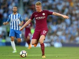 Kevin De Bruyne in action for Manchester City against Brighton & Hove Albion on August 12, 2017