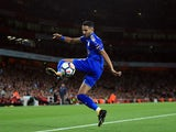 Riyad Mahrez in action during the Premier League game between Arsenal and Leicester City on August 11, 2017