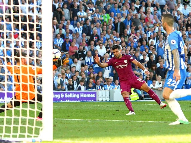 Sergio Aguero scores during the Premier League game between Brighton & Hove Albion and Manchester City on August 12, 2017