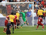 Stefano Okaka scores the opener during the Premier League game between Watford and Liverpool on August 12, 2017