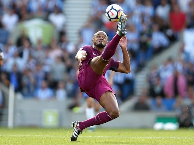 City skipper Vincent Kompany in action during the Premier League game between Brighton & Hove Albion and Manchester City on August 12, 2017