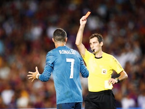 Cristiano Ronaldo sees red during the Supercopa de Espana first-leg match between Barcelona and Real Madrid on August 13, 2017