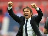 Antonio Conte celebrates during the Premier League game between Tottenham Hotspur and Chelsea on August 20, 2017