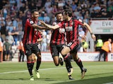 Charlie Daniels celebrates scoring during the Premier League game between Bournemouth and Manchester City on August 26, 2017