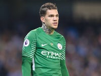 Ederson in action during the Premier League game between Manchester City and Everton on August 21, 2017
