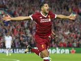 Emre Can celebrates scoring during the Champions League playoff between Liverpool and Hoffenheim on August 23, 2017