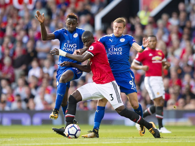 Eric Bailly, Wilfred Ndidi and Jamie Vardy in action during the Premier League game between Manchester United and Leicester City on August 26, 2017