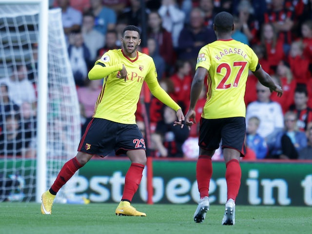 Etienne Capoue celebrates scoring during the Premier League game between Bournemouth and Watford on August 19, 2017