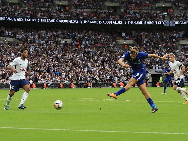 Marcos Alonso scores his second during the Premier League game between Tottenham Hotspur and Chelsea on August 20, 2017