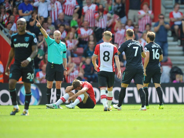 Marko Arnautovic sees red during the Premier League game between Southampton and West Ham United on August 19, 2017