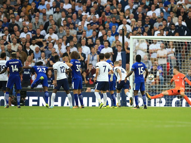 Michy Batshuayi scores with an incisive bullet header during the Premier League game between Tottenham Hotspur and Chelsea on August 20, 2017