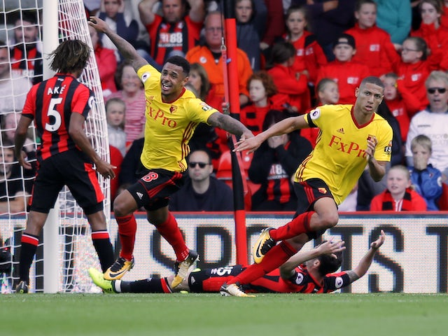 Richarlison celebrates opening the scoring during the Premier League game between Bournemouth and Watford on August 19, 2017